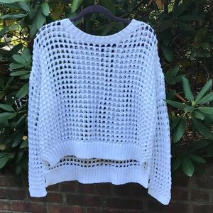 Express Open Stitch White Sweater *M